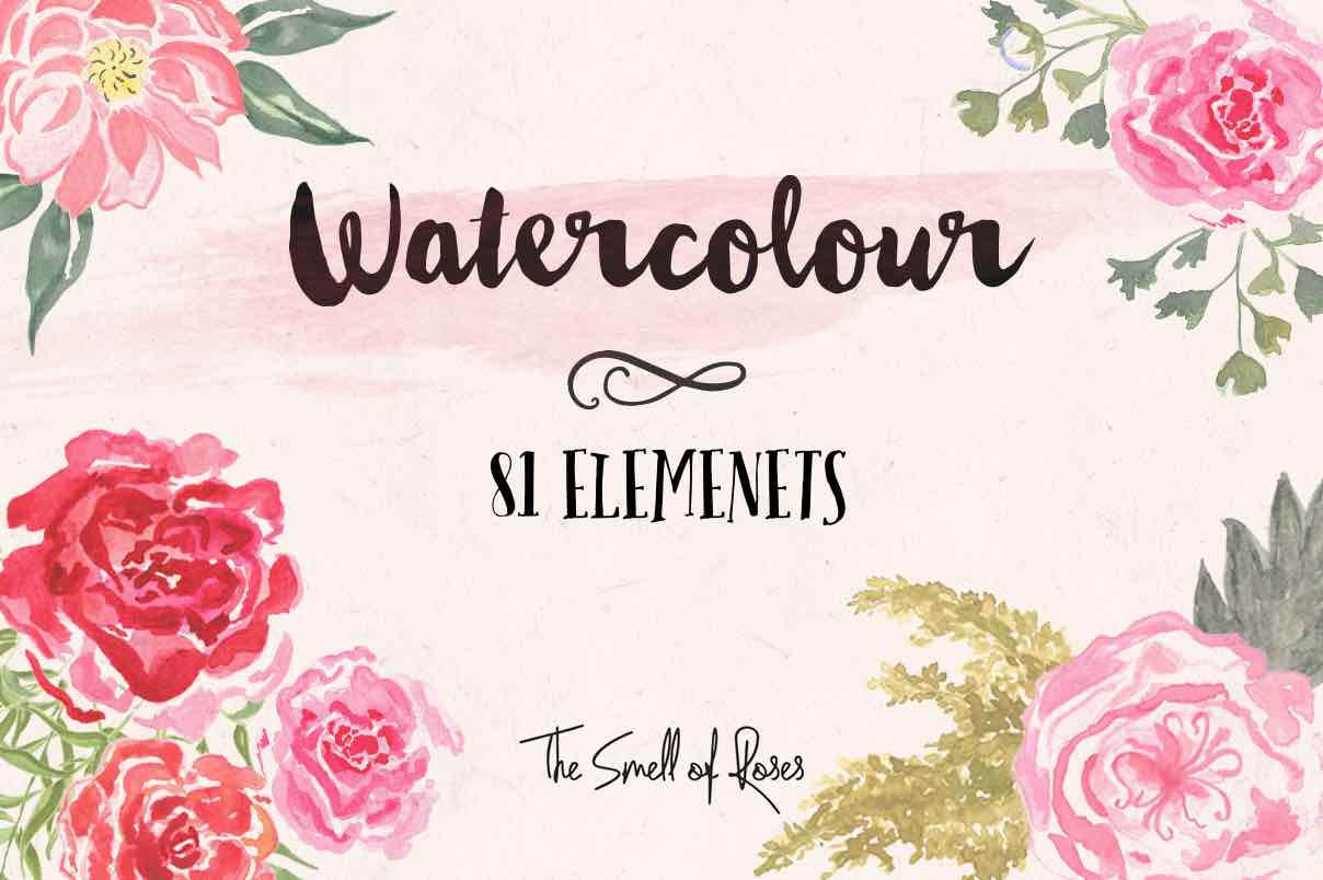 Watercolor flower, Free Flower Clip Art,  Watercolor png, the smell of roses, watercolor, simple flowers, watercolor roses