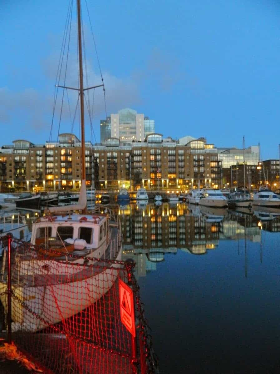 London, Thames river, St Katharine Docks, night, water reflection