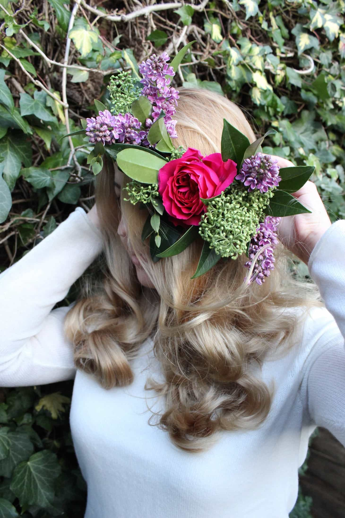 flower crown, how to, lilac, rose