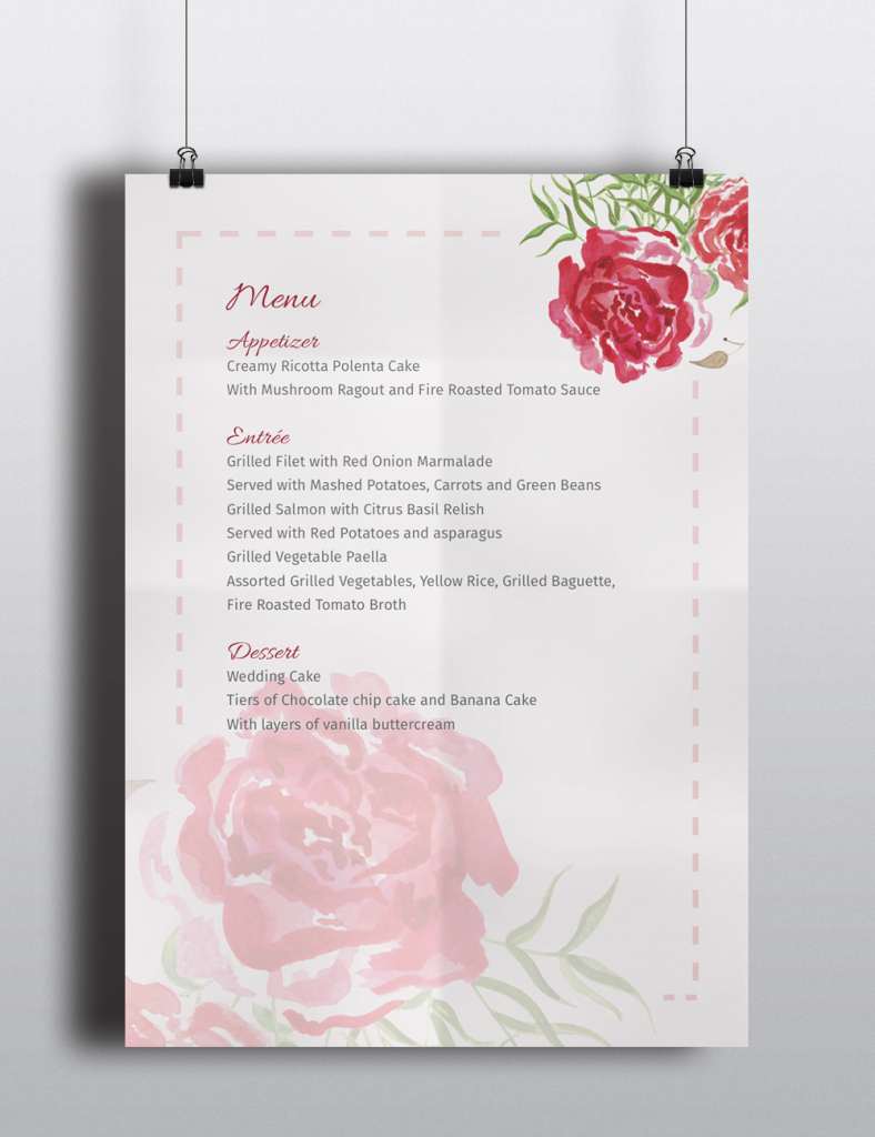 Wedding Menu Invitation Template