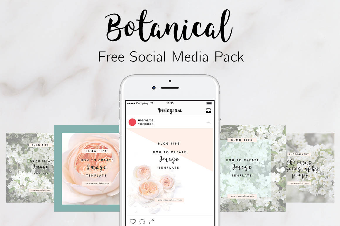 Free social media pack, botanical free social media pack, bloggers pack, pinterest covers for bloggers, rose juliet, peach and green with florals